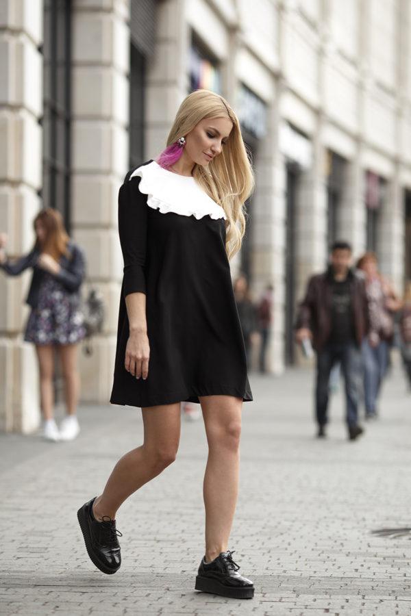 Платье черно-белое с манишкой GM'17. 8900Р