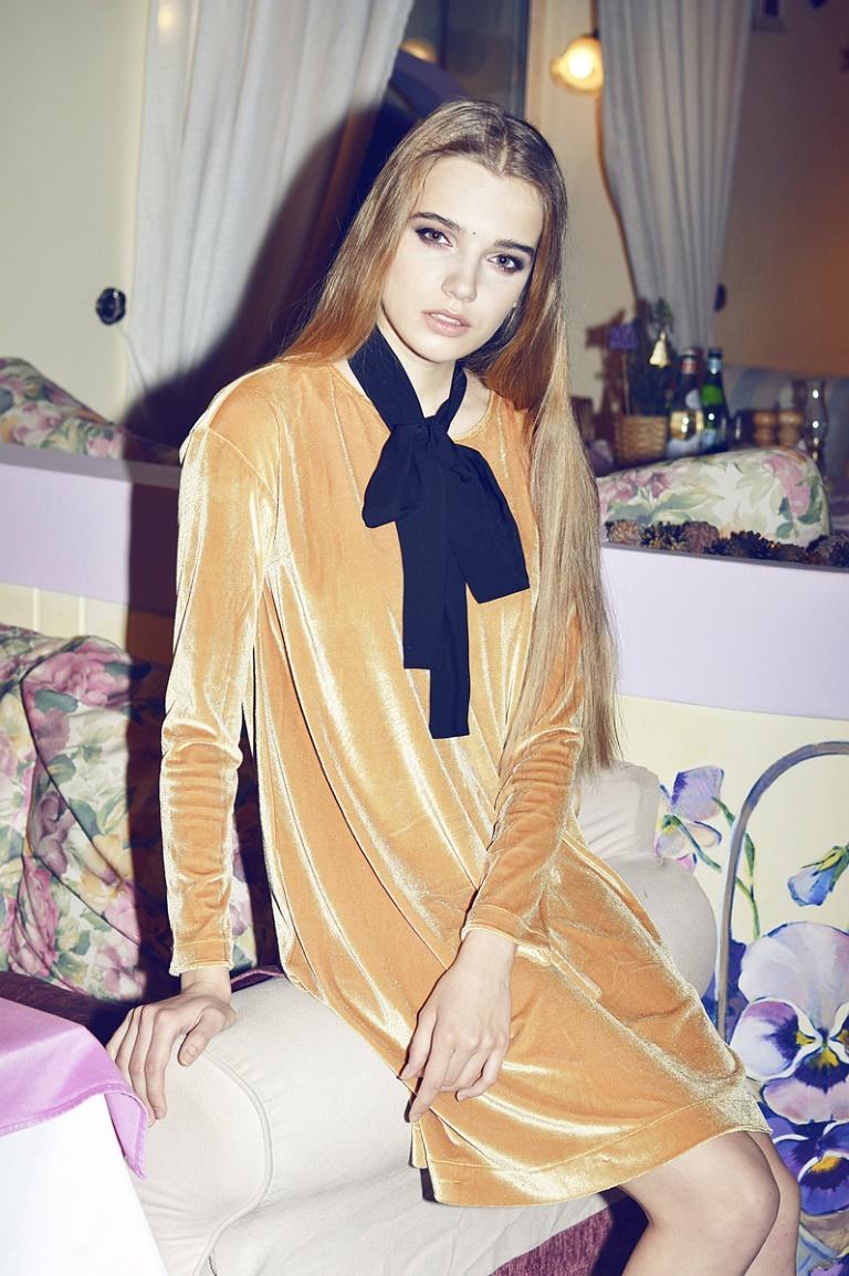 Платье трапеция желтый бархат GM'17. 5980Р