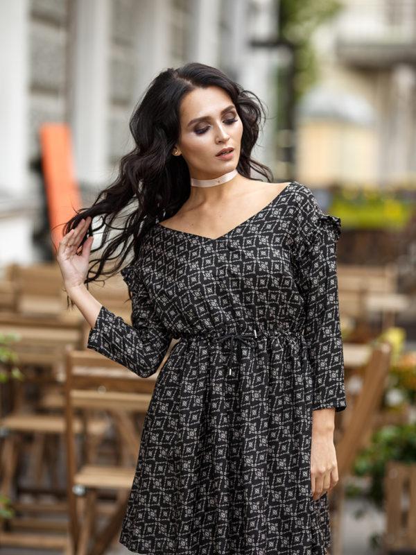 """Платье черное с рисунком """"воздух"""" SM'17. 8730Р"""